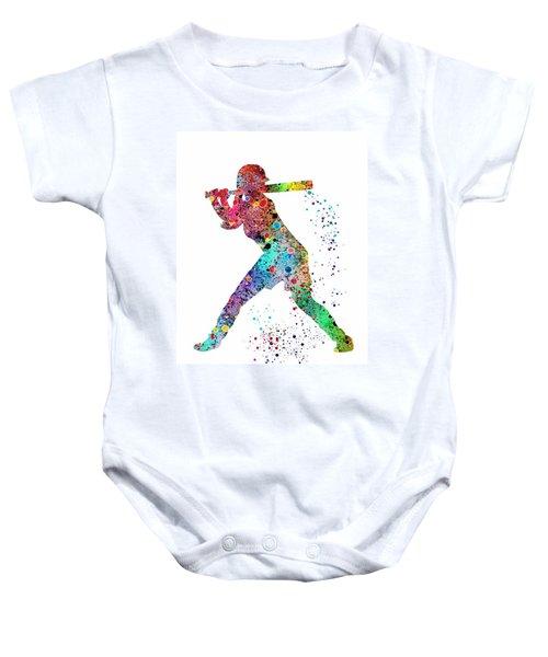 Baseball Softball Player Baby Onesie by Svetla Tancheva