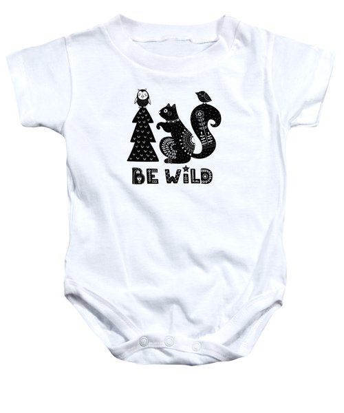 Be Wild Cute Owl And Squirrel In Scandinavian Style Baby Onesie