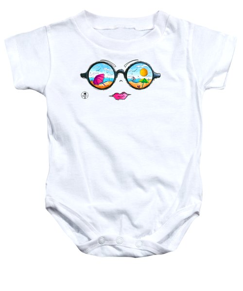 Beach Day Sunglass Design From The Sunnie Tees 2016 Collection Baby Onesie by Megan Duncanson