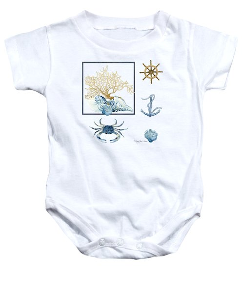 Beach House Nautical Seashells Ships Wheel Anchor N Crab Baby Onesie by Audrey Jeanne Roberts