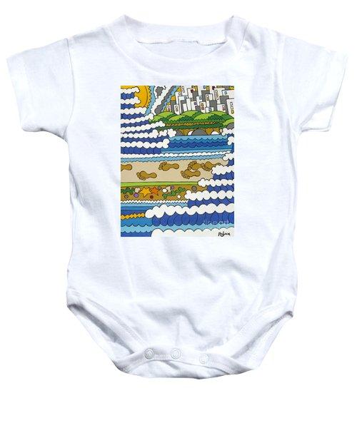 Beach Walk Foot Prints Baby Onesie