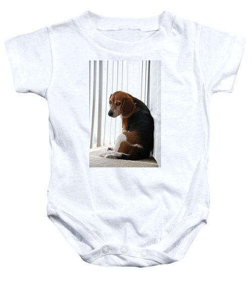 Baby Onesie featuring the photograph Beagle Attitude by Jennifer Ancker