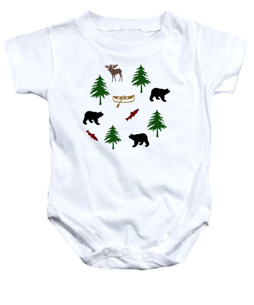 Baby Onesie featuring the mixed media Bear Moose Pattern by Christina Rollo