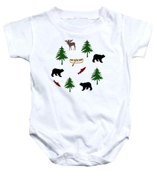 Bear Moose Pattern Baby Onesie