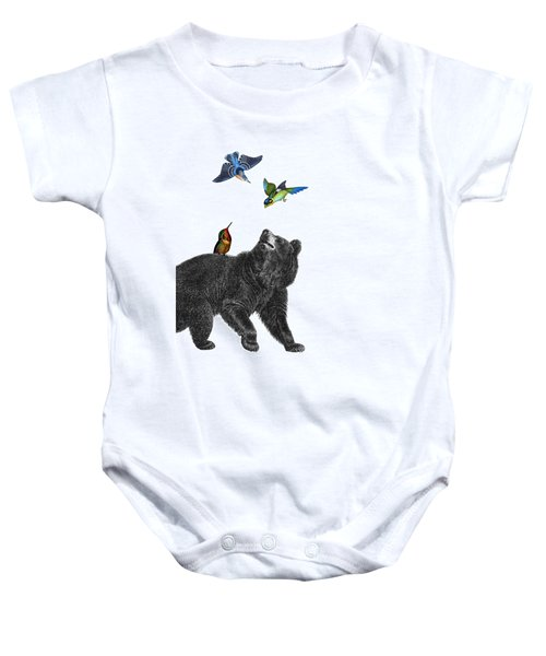 Bear With Birds Antique Illustration Baby Onesie