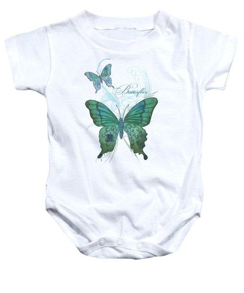 Beautiful Butterflies N Swirls Modern Style Baby Onesie by Audrey Jeanne Roberts