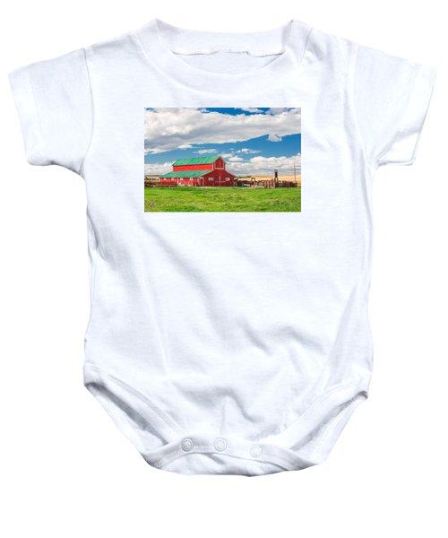 Beautiful Red Barn Baby Onesie