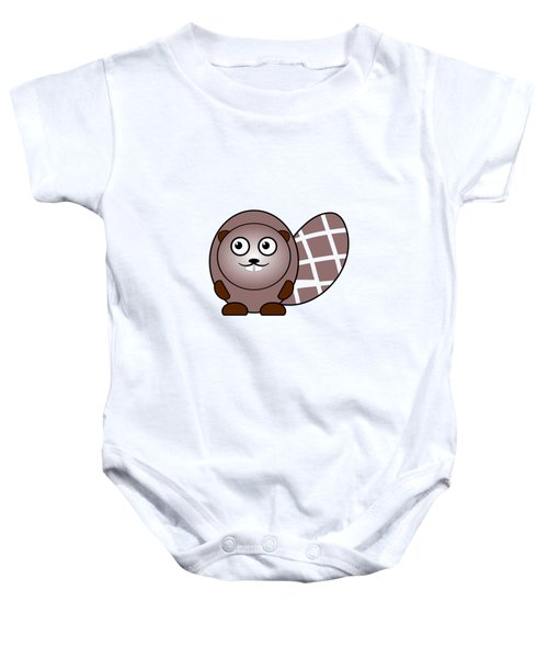 Beaver - Animals - Art For Kids Baby Onesie by Anastasiya Malakhova