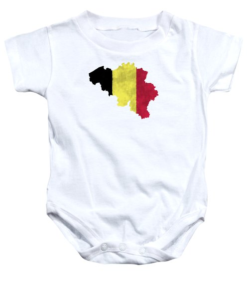 Belgium Map Art With Flag Design Baby Onesie