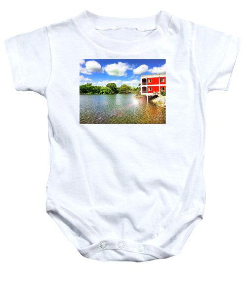 Belize River House Reflection Baby Onesie