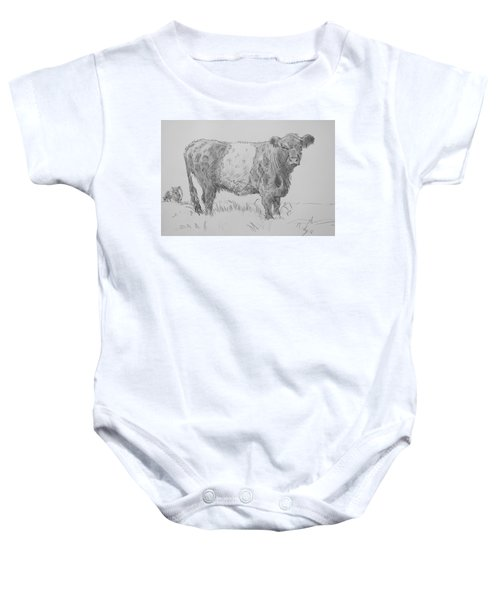 Belted Galloway Cow Pencil Drawing Baby Onesie