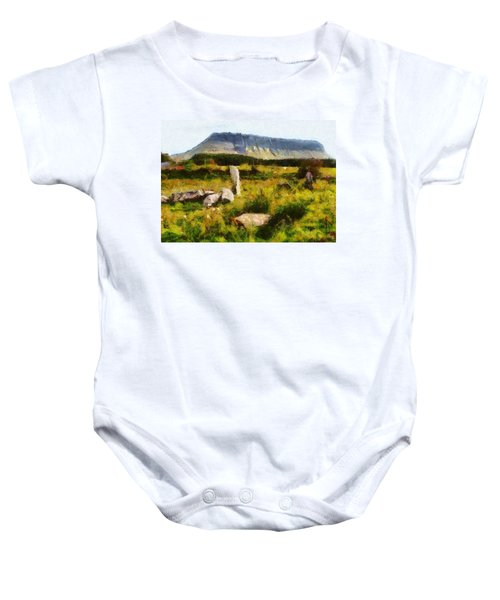 Baby Onesie featuring the digital art Benbulben Sligo by Charmaine Zoe