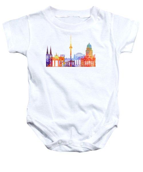 Berlin Landmarks Watercolor Poster Baby Onesie by Pablo Romero