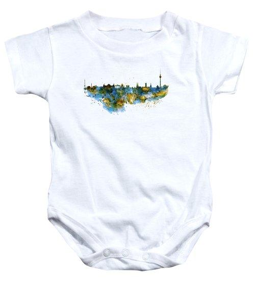 Berlin Watercolor Skyline Baby Onesie by Marian Voicu