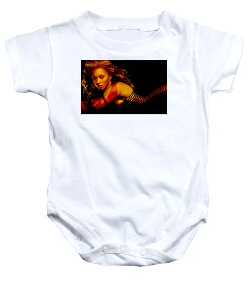 Baby Onesie featuring the mixed media Beyonce by Marvin Blaine