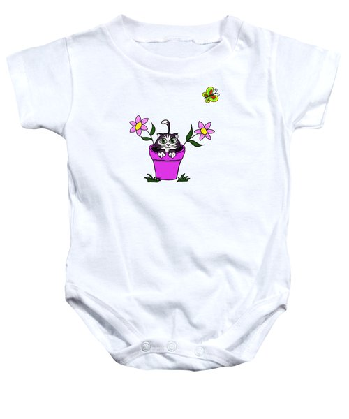 Big Eyed Kitten In Flower Pot Baby Onesie by Lorraine Kelly