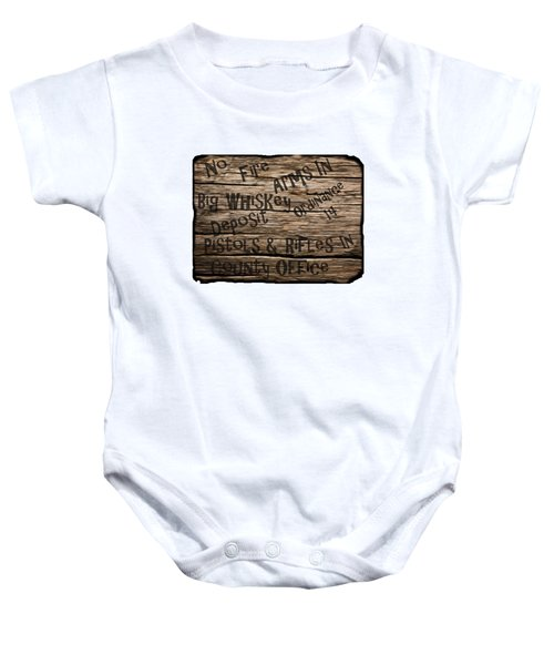 Big Whiskey Fire Arm Sign Baby Onesie