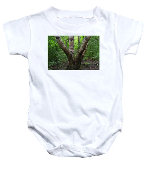 Birch Bark Tree Trunks Baby Onesie