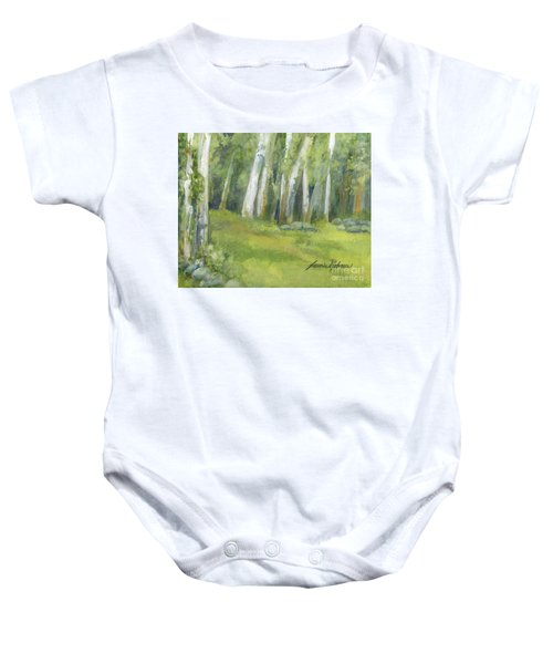 Birch Trees And Spring Field Baby Onesie