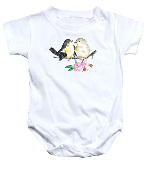 Birds And Apple Blossom Baby Onesie