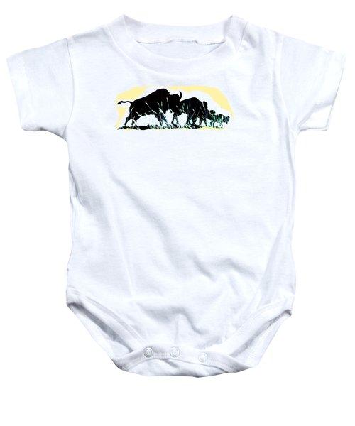 Bison Prairie Run Baby Onesie by Aliceann Carlton