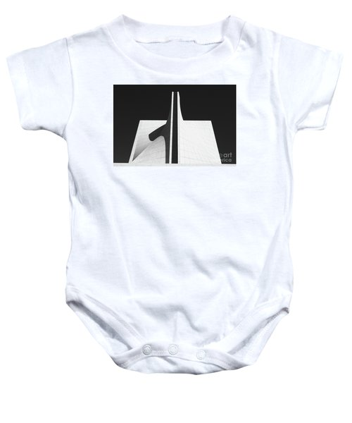 Baby Onesie featuring the photograph Black And White Building by MGL Meiklejohn Graphics Licensing