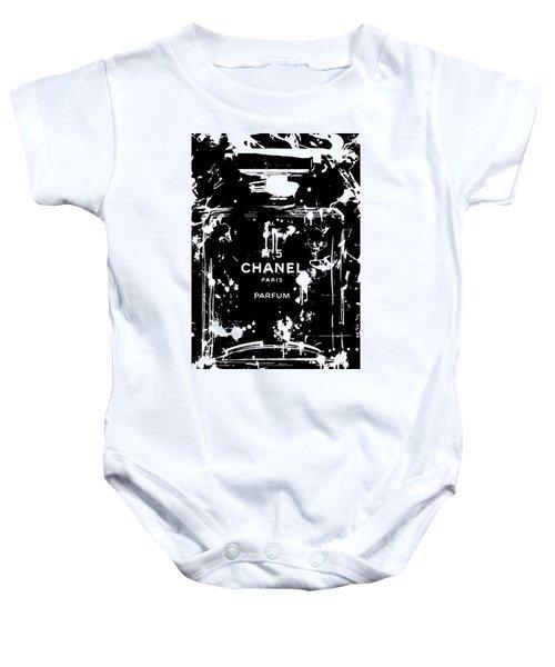 Black And White Chanel Splatter Baby Onesie