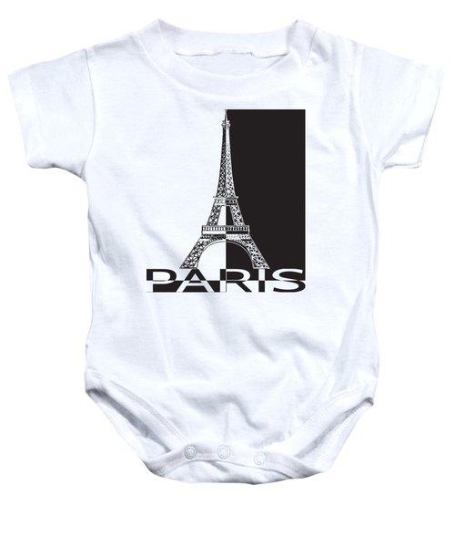 Black And White Eiffel Tower Baby Onesie by Yurii Perepadia
