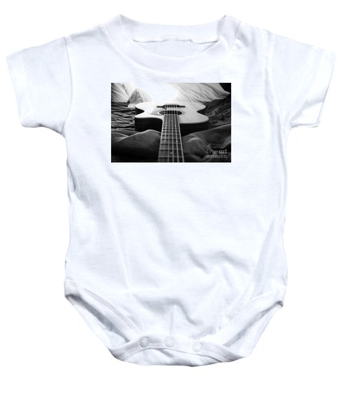 Baby Onesie featuring the photograph Black And White Guitar by MGL Meiklejohn Graphics Licensing