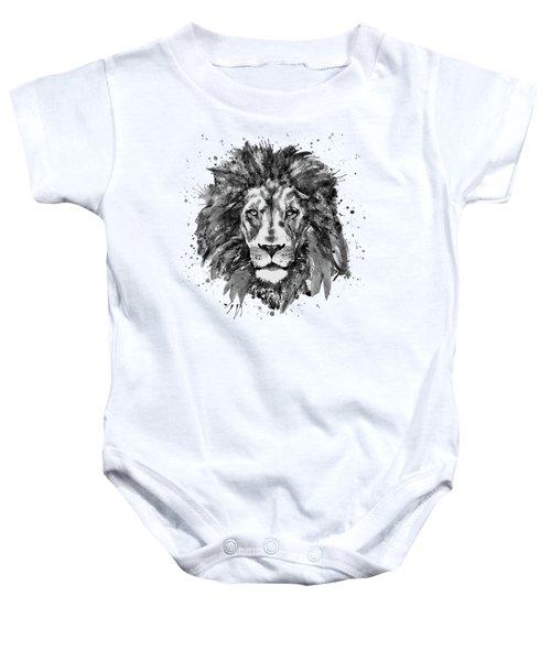 Black And White Lion Head  Baby Onesie by Marian Voicu