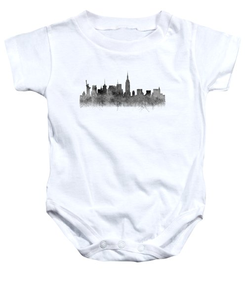 Baby Onesie featuring the digital art Black And White New York Skylines Splashes And Reflections by Georgeta Blanaru