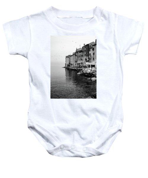 Black And White - Rovinj Venetian Buildings And Adriatic Sea, Istria, Croatia Baby Onesie