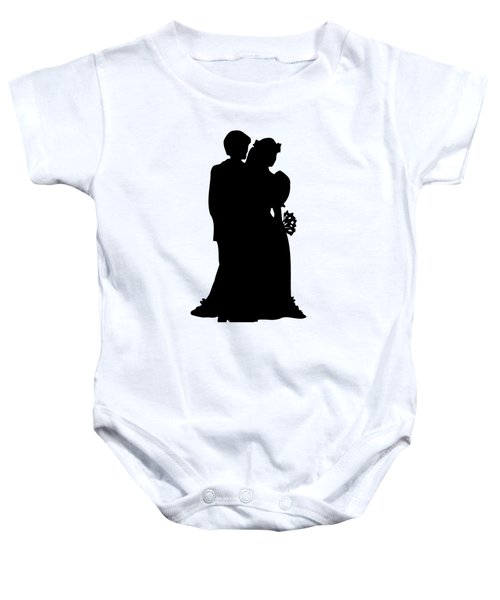 Black And White Silhouette Of A Bride And Groom Baby Onesie