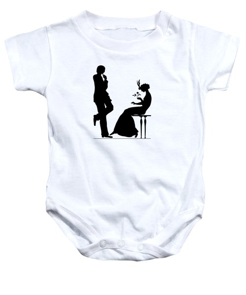 Black And White Silhouette Of A Man Giving A Woman A Flower Baby Onesie