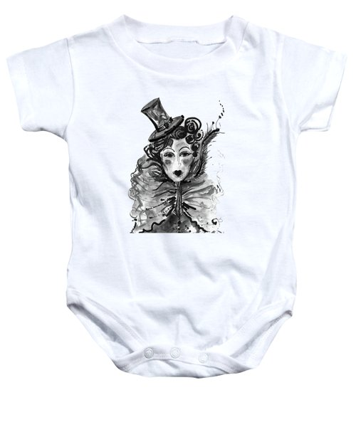 Black And White Watercolor Fashion Illustration Baby Onesie