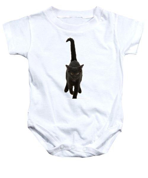 Black Cat On The Run Baby Onesie