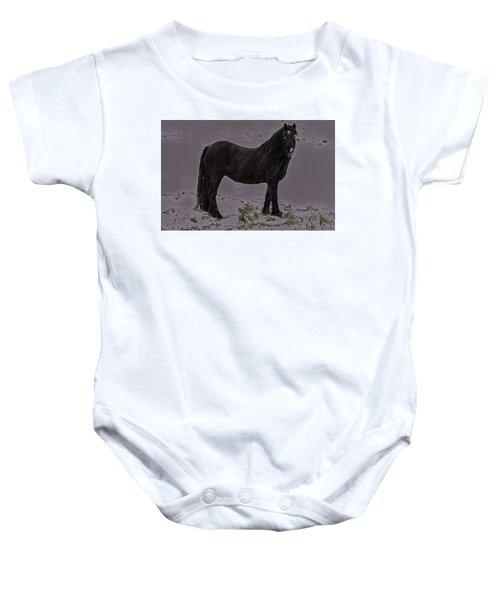 Black Horse In The Snow Baby Onesie
