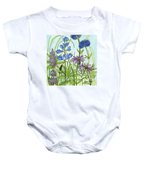 Blue Buttons Baby Onesie