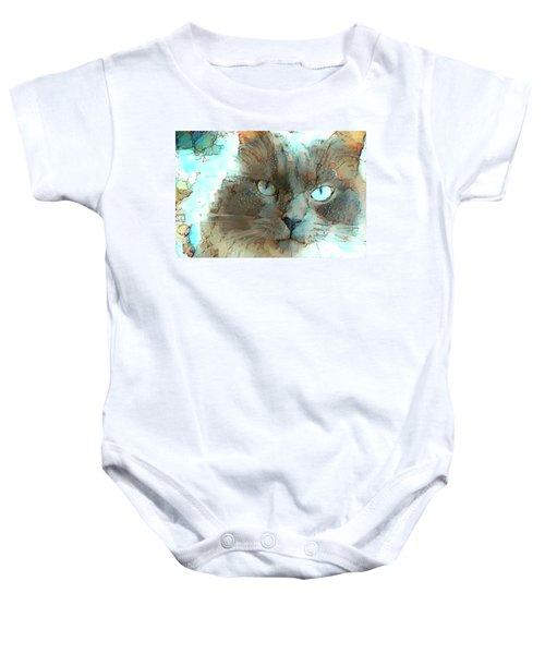 Blue Eyed Persian Cat Watercolor Baby Onesie