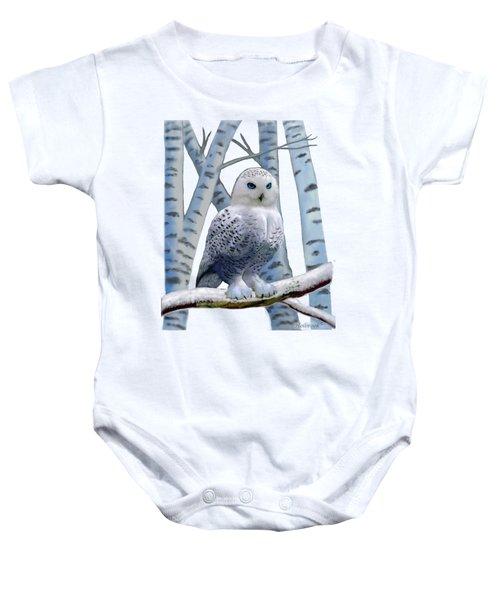 Blue-eyed Snow Owl Baby Onesie