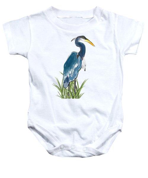 Blue Heron Baby Onesie by Devon LeBoutillier