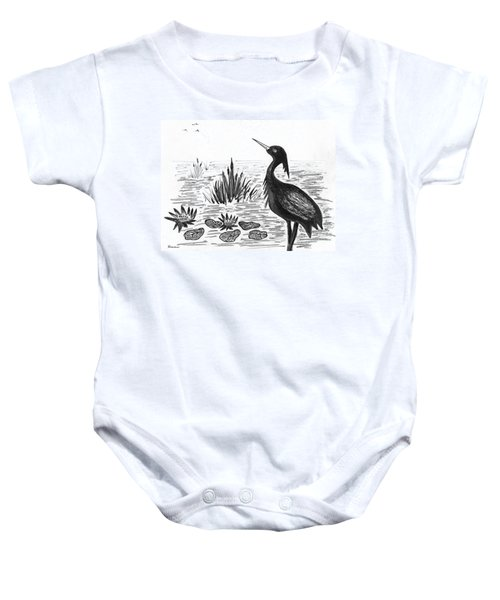 Crowned Night Heron Lily Pond Paradise In Ink D1 Baby Onesie