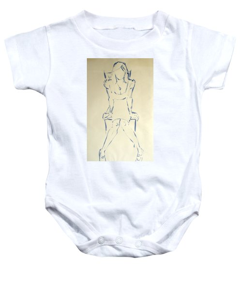 Blue Line Painting Of Woman Sat On Chair With Hands On The Sides Of Her Legs Baby Onesie
