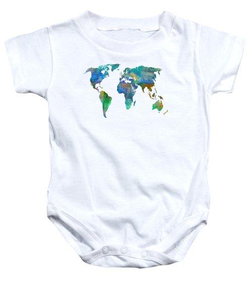 Blue World Transparent Map Baby Onesie
