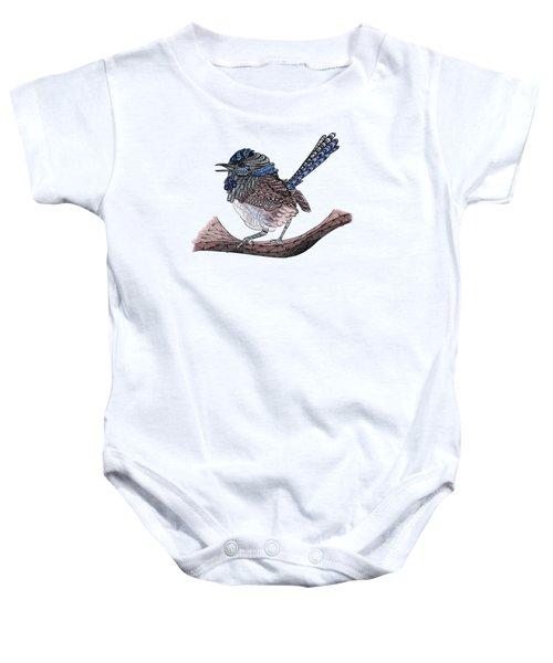 Blue Zen Wren Paisley Bird Baby Onesie
