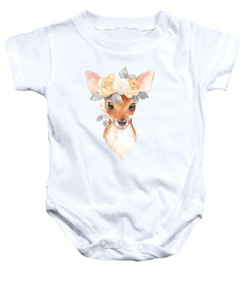 Blush Floral Deer Baby Onesie