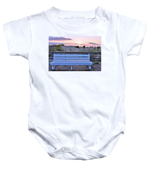 A Welcome Invitation -  The Boardwalk Bench Baby Onesie