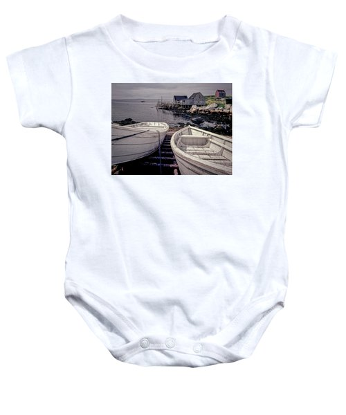 Boats Near Peggys Cove Baby Onesie