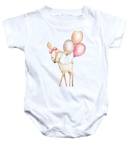 Boho Deer With Balloons Baby Onesie