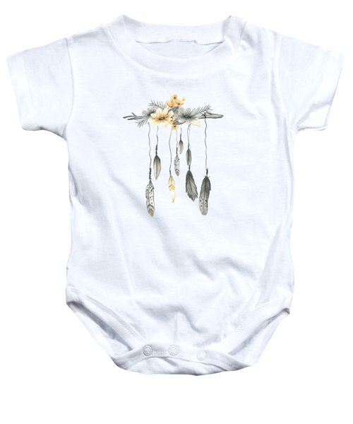 Boho Feathers Floral Branch Baby Onesie